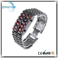 China factory price wholesale fashion 3ATM red blue light Lava Style Iron Samurai All Metal Red LED Faceless Watches