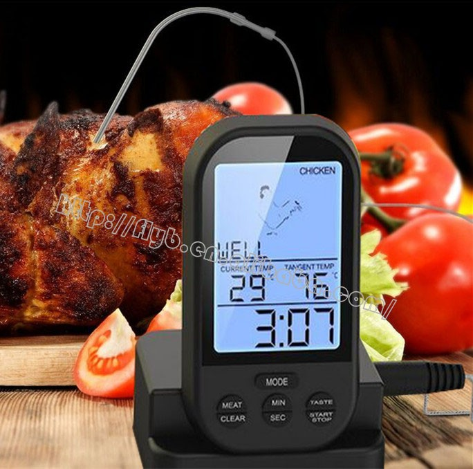 2 probe remote food meat thermometer wireless meat cooking bbq thermometer for grilling/oven