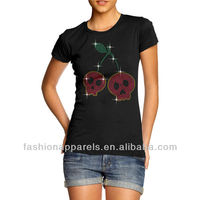 Short Sleeve 95% Cotton and 5% Spandex Custom Wholesale Rhinestone T shirts For Girl