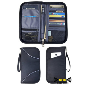 Anti-RFID Scanning Radio Frequency Identification Travel Wallet Passport Bag Canvas Travel Function Document Package