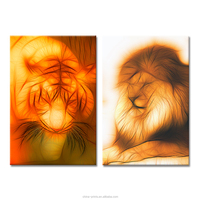 Abstract Digital Image of Tiger and Lion HD Photo Prints Home Wall Decor Canvas Art Office Decoration Drop Shipping Canvas Print