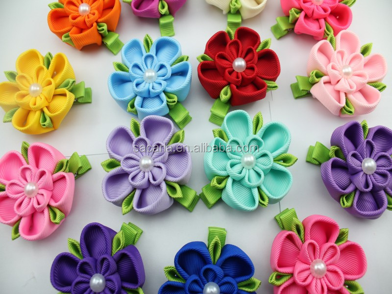 Handmade Kanzashi fabric flowers grosgrain ribbon Alligatoer clips - hair accessories