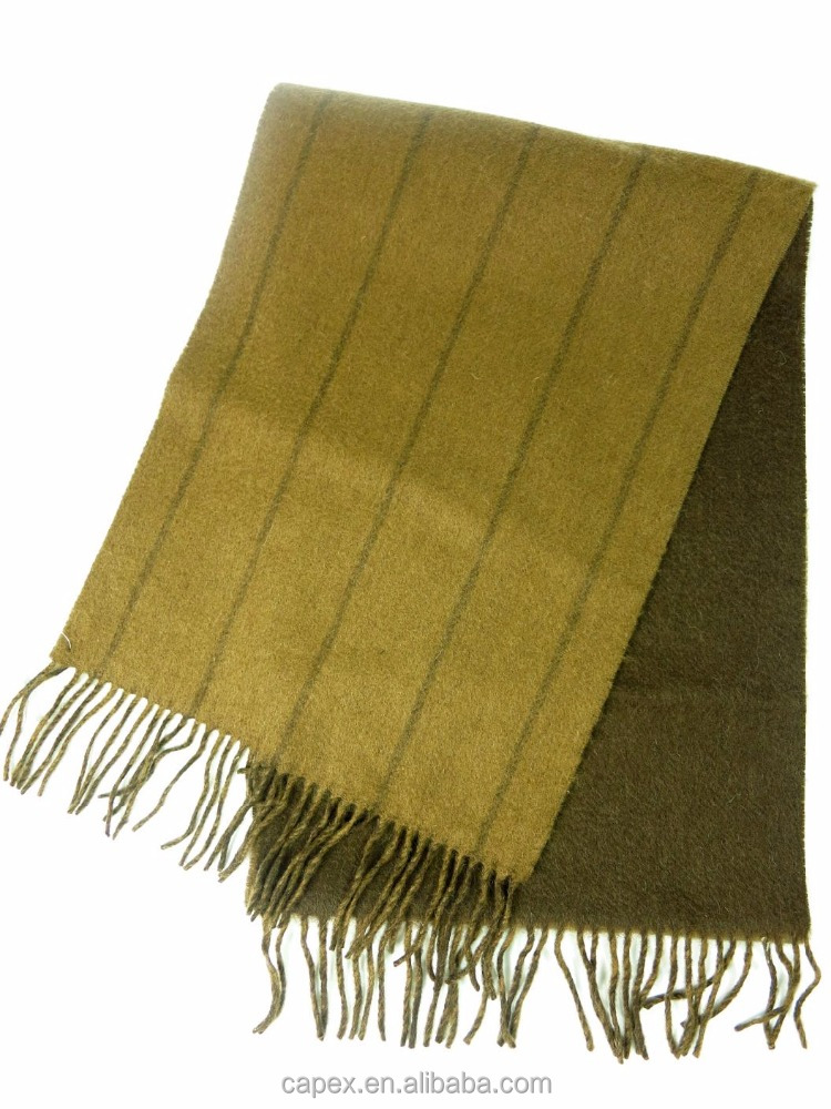 Olive Dark Green Winter Stripe Cashmere Reversible Double Face Warm Male Shawl