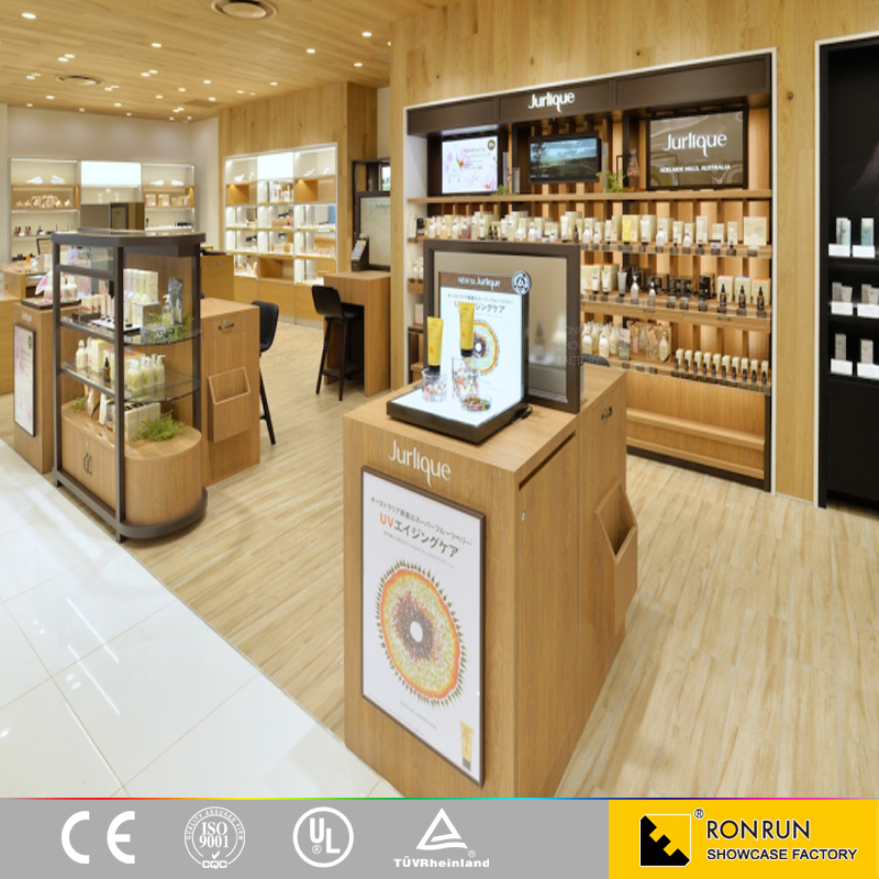 Cosmetic Mall Decoration Design Use Wooden Cosmetic Display Cases, Customized Display Cabinet