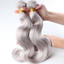 Colorful thick end duoble weft highest quality 100% raw grey human hair weaving