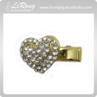 Heart Hair Duck Clip with crystal , Hair Alligator Clip