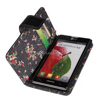 Black Floral PU Stand Wallet Leather Case Cover for LG Optimus L7 II Dual P715 Case