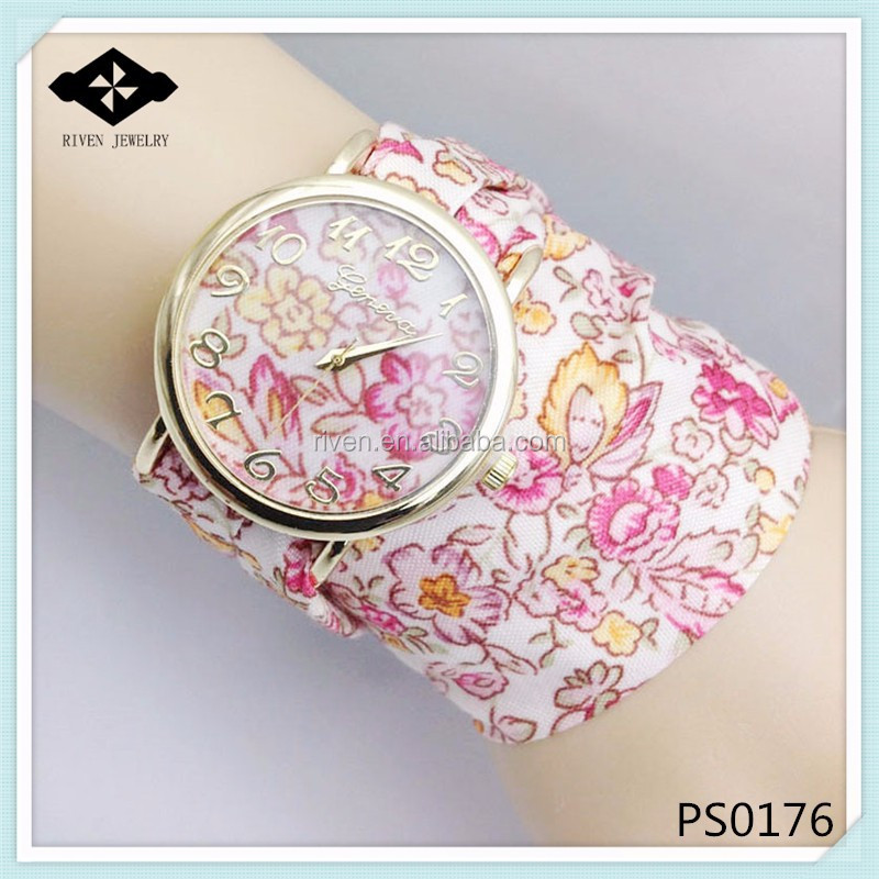 PS0176 Unique Floral pattern chiffon scarf long calico ribbon roses band Watches girl latest hand watch