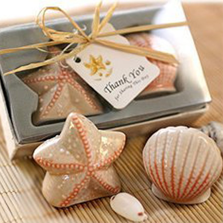Starfish And Seashell Fancy Salt And Pepper Shaker Wedding Favors