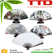 foldable hand fan , sublimation blank Spun silk fans for dye sublimation printing ,