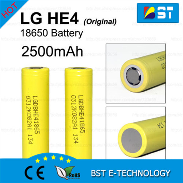 Wholesale lg he4 2500mAh 35amp ICR18650 HE4 ups first power battery in stock for electronic cigarette