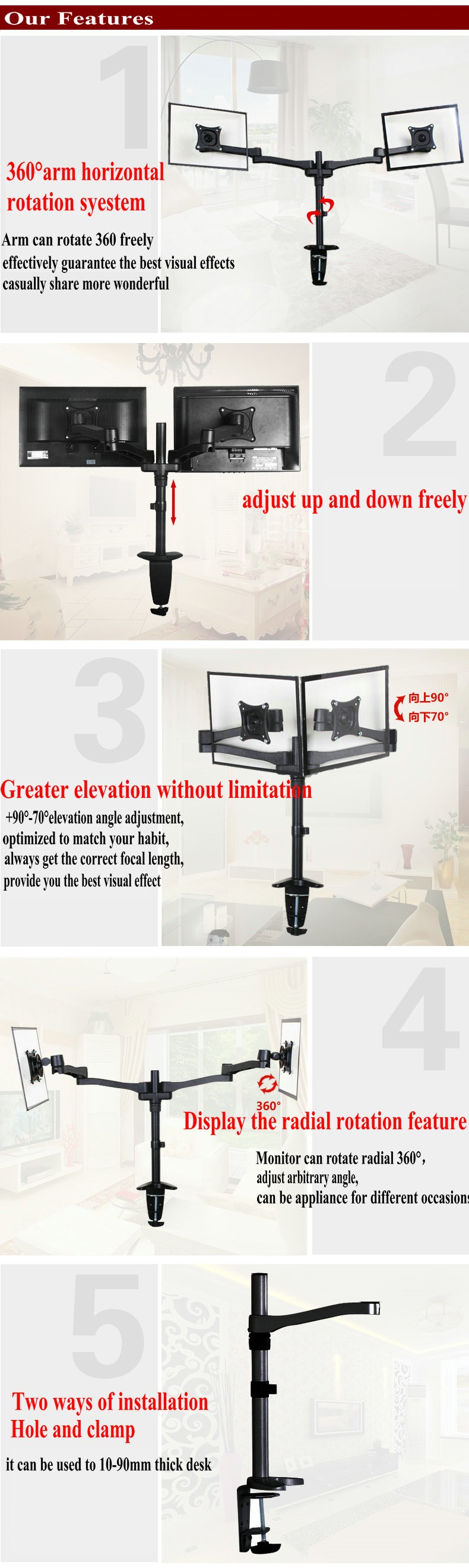Aluminum LCD/LED Desktop Monitor Stand Mount For Dual Monitors