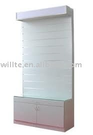 slatwall display stand with glass shelving