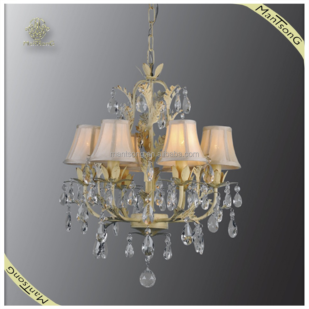 Wholesale fabric shade wrought Iron chandelier light, fancy crystal pendant light