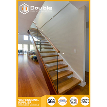 Modern double steel stringer wood stairs