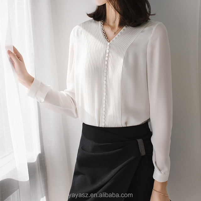 Button lady silk blouse women long sleeve shirt