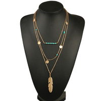 KN0002 Trendy Europe Metal Feather Pendant Turquoise Stone Triple Layered Necklace For Wholesale