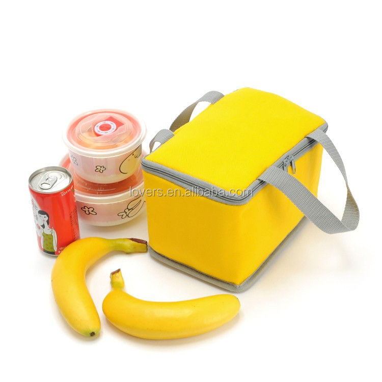 Lunch use yellow thermal lunch cooler bag insulated