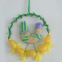 Wholesale easter decoration 18cm plastic egg wreath with duck deco