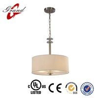 fancy made in china zhongshan Steel & Fabric&Brushed Nickel drum drop light for dinning room decor