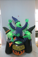 Halloween inflatable witches with pot vivid decorations