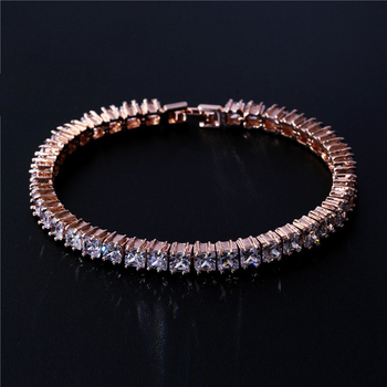 Junjiang ZB0076 best selling rose gold/white gold brass tennis bracelet inlay clear cubic zirconia simple bracelet