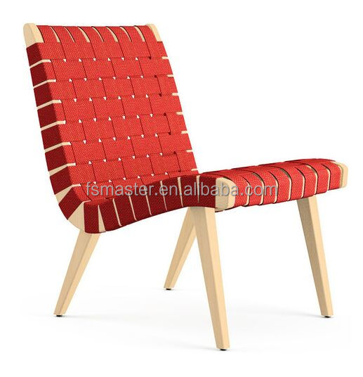 replica solid ash wood black/red/white bendage covered Risom lounge chair with ottoman