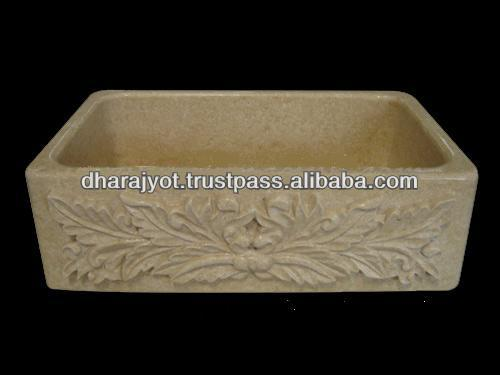 Yellow Marble Rectangle Carving Vanity Decor Sink
