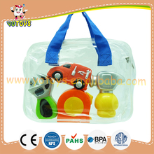 Promotional bath toy style pvc material soft rubber toy bath truck hammer tape toys for bath time