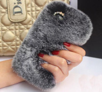 Luxury 100% Genuine Rabbit Hair Fur Hard PC Mobile Phone Case for iPhone6, 6plus With Glitter crystal Cover for iPhone6s,6splus