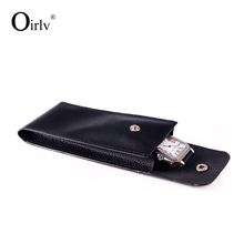 Oirlv Custom Logo Black Leatherette Jewelry Travel packing Bag Storage Bracelet Ring Wholesale PU Leather Watch Pouch