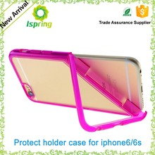 Transparent PC+TPU folding holder for iphone 6/6s, popular new phone holder