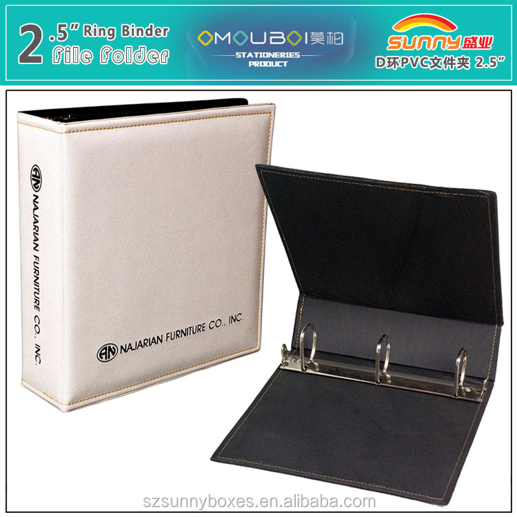 A4 Leather School File Cover Designs Metal Tall Trigger 3 Ring Binder 2.5""