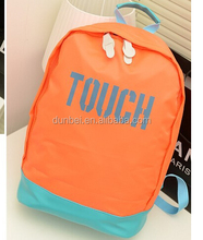 Trending hot products China 2015 Korean Waterproof nylon orange plain color backpack