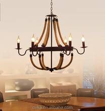 Wrought iron chandelier lighting retro rope creative personality staircase decorated restaurant lights chandelier lighting