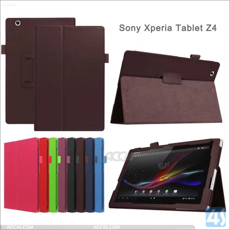 Newest super quality charming wholesale in stock leather flip cover case for sony xperia Z4 10.1 tablet