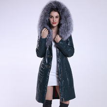Outdoor long natural clothing winter leather jacket with fur collar womens