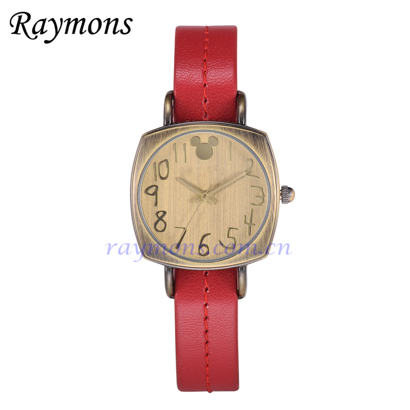 Bronze plating mouse ladies wrist watch