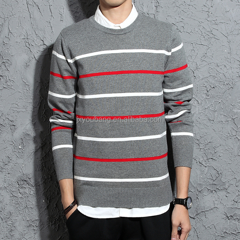 2017 hot sale casual style round collar custom fit stripe man sweater