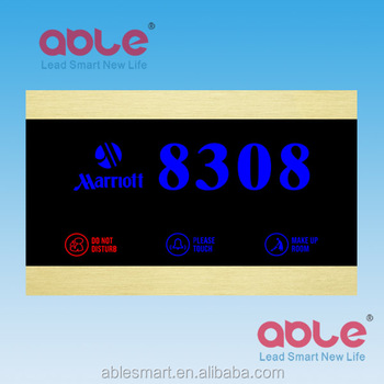 ABLE Best selling hotel Touch screen electronic doorplate with Room Numbers Display