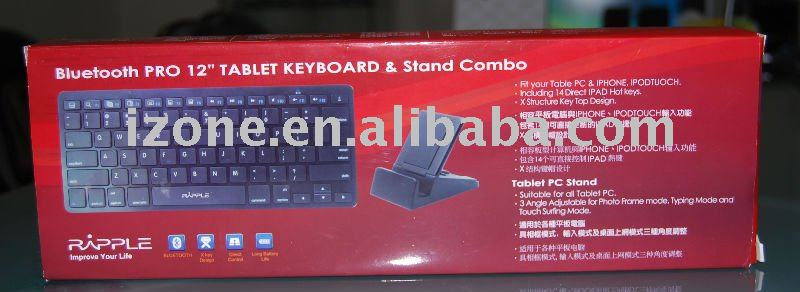 Bluetooth Keyboard PRO 12'' for I PAD & Leptop + Stand for I PAD