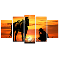 HD Printed Canvas Wall Art Silhouette Of Cowboy And Horse Against Cloudy Evening Sky Sunset Landscape 5 Panel Giclee Artwork