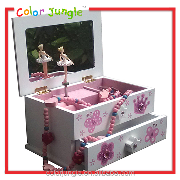 Ballerina music box with glitter printing High quality wooden musical jewellery box
