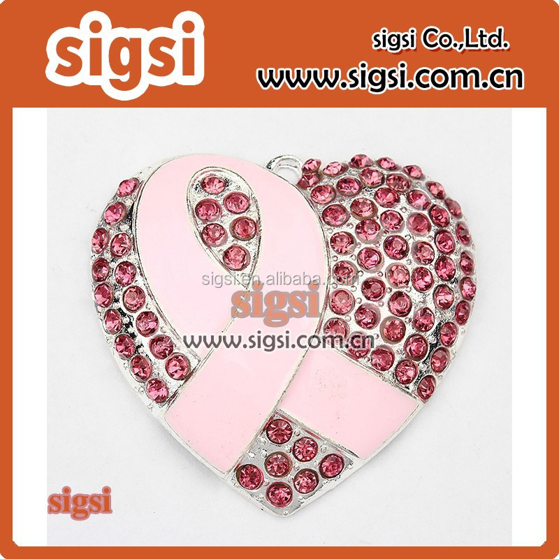 Breast Cancer Awareness Pink Ribbon Heart Rhinestone Pendant Chunky Necklace Beads