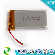 OEM factory 503048 lipo ultra thin li-ion battery and li ion rechargeable battery 3.7v 750mah 720mah