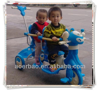 Luxury Two seats baby tricycle / children bike for twins