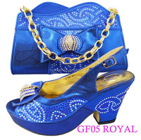italian GF05 royal blue color shoes matching bags /anniversary wearing shoes with bags