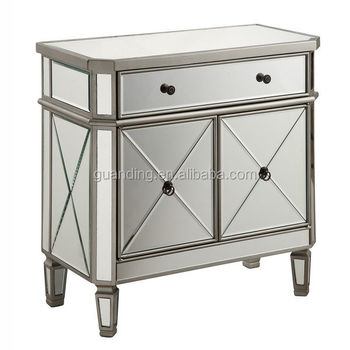 Mirrored furniture with wooden glass cabinet/table