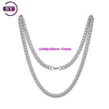 Stainless Steel Necklace Handmade Cuban Chain Silver Jewellery Necklace