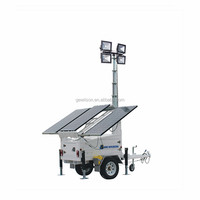trailer manual lifting mast height 6.5m solar led mobile light tower